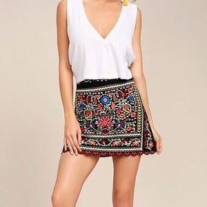 Goodnight Macaroon Floral Embroidered Mini Skirt